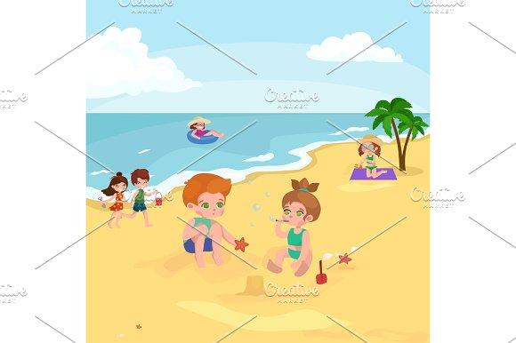 Children summer vacation. Kids Playing sand around water on beach