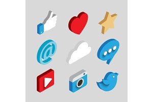 Social media flat 3d isometric concept vector icons.