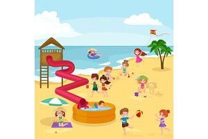 Children summer vacation. Kids Playing sand around water on beach