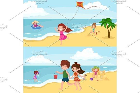 Fun At Beach Happy Kids Plaing Sand Around Water