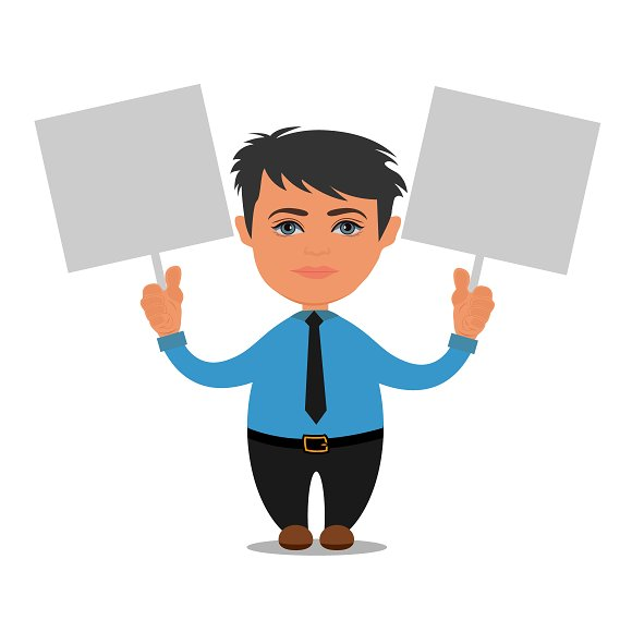 Business Person Holding Empty Boards