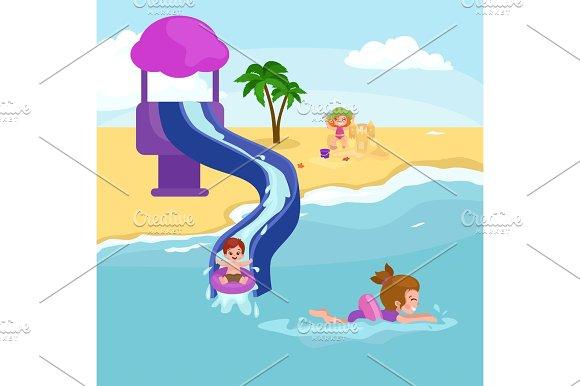 Children Summer Vacation Kids Playing Sand Around Water On Beach