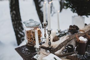 Burning candles  and cocoa