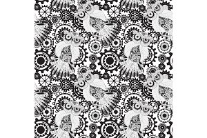 Black vector gears, steampunk seamless pattern. Owl with gear.