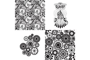 Set of seamless pattern, abstract steampunk owl and gears.