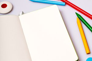 Open notepad with blank pages