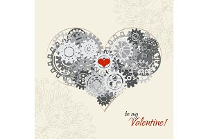 Heart as a mechanism made of cogs and gears. Vector Illustration  of steampunk heart. Valentines day card with sign on ornate background