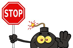 Cute Bomb Holding A Stop Sign
