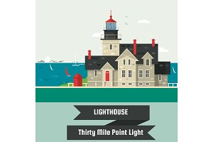 Lighthouse.Thirty Mile Point Light.Lighthouse on rock stones island cartoon vector background. Vector illustration