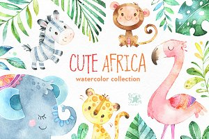 Cute Africa. Animals & Florals.