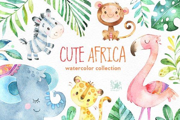 Cute Africa. Animals & Florals.