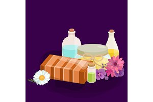Natural Handmade Soap and Olives vector illustration