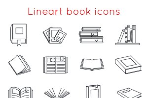 Lineart Book Icons
