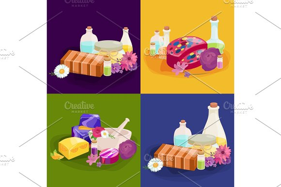 Homemade Bars Soaps Flowers And Essential Oil Vector Icons Set