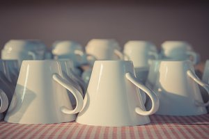 Many white coffee cups