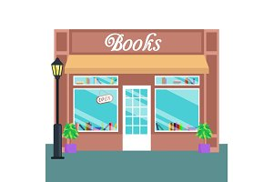 Book shop and store, building front flat style. Vector illustration
