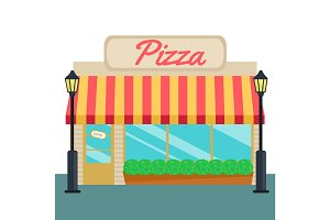 Pizza shops and store front flat style. Vector illustration