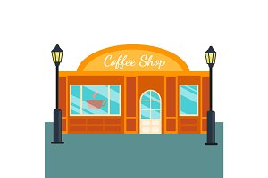 Caffee shops and stores front flat style. Vector illustration