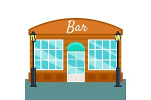 Bar building front exterior flat style. Vector illustration