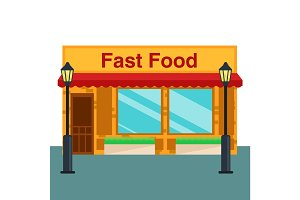 Fast food shop, store front flat style. Vector illustration