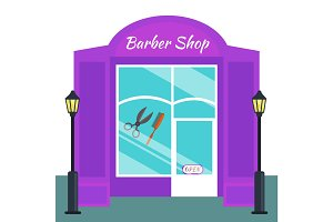 Baber shop, stores front flat style. Vector illustration salon exterior