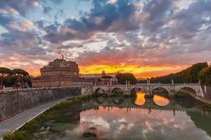 Saint Angel castle and bridge at sunrise, Rome
