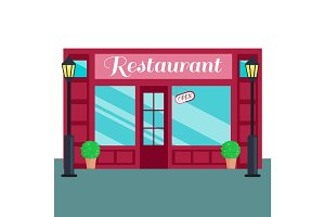 Кestaurant Caffee front flat style Vector illustration building exterior