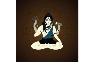 Lord Shiva in the lotus position and meditate. Maha Shivaratri illustration, vector indian god Ganesha, background for yoga