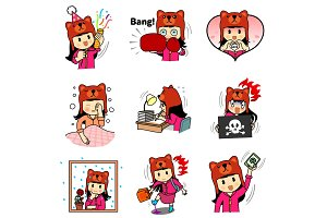 girl bear sticker