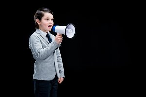 boy standing with megaphone