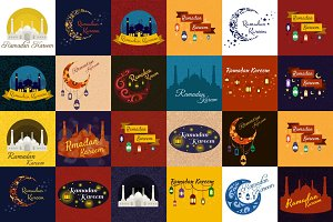 Set of Happy Ramadan Kareem greeting cards, muslim or islamic holiday celebration backgrounds, aid mubarak vector illustration