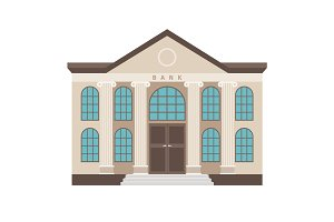 Bank cartoon colorful flat building icon