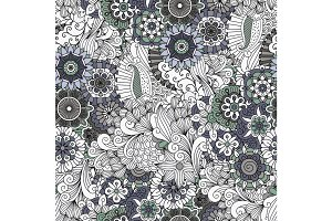 Flowers and swirls decorative pattern