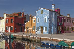 Varied and colorful houses on Burano