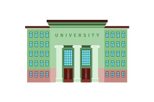 University green color building icon