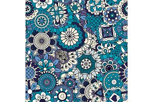 Blue floral ornamental pattern