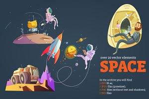 Outer Space Cartoon Set