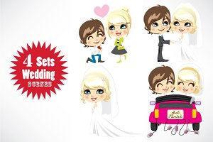 Vector Wedding Character Scenes