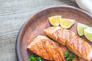 Roasted salmon steak