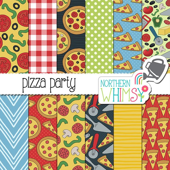 Pizza Party Seamless Patterns