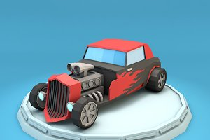 Cartoon Hot Rod Racing Car Low Poly