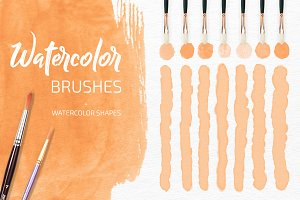Watercolor Brushes and Shapes