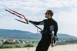 Kitesurfer in the beach.