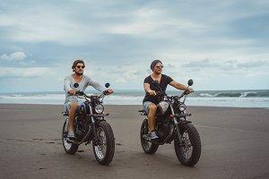Two friends on moto