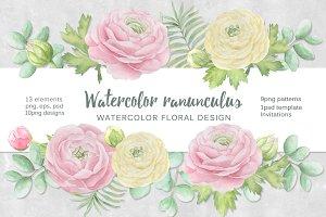 Watercolor ranunculus.
