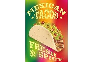 Mexican tacos realistic vector poster design
