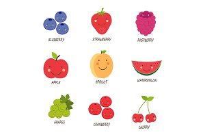 Cute smiling characters of fruits
