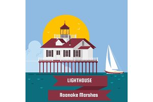 Lighthouse. Roanoke Marshes Lighthouse .Lighthouse on island cartoon vector background. Flat vector illustration