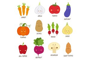 Cute smiling characters of veggies