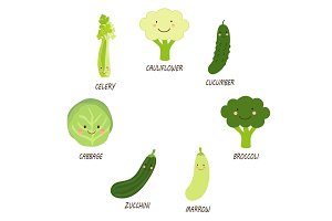 Cute smiling characters of green veggies